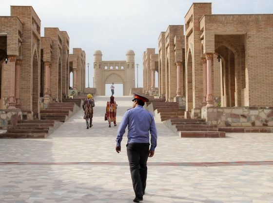 Tajik police officer patrolling the ancient Silk Road city of Hissor, Tajikistan