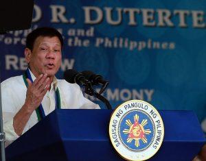R. Duterte delivers a speech