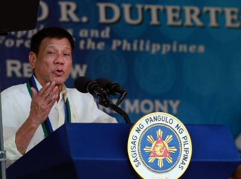 R. Duterte delivers a speech